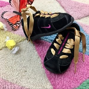Baby Girl Nikes with Ribbons, glitter black, suede